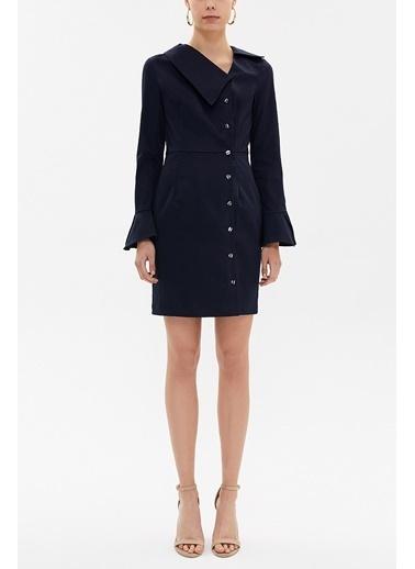 Societa Düğmeli Asimetrik Yaka Dar Kesim Mini Elbise 92147 Lacivert